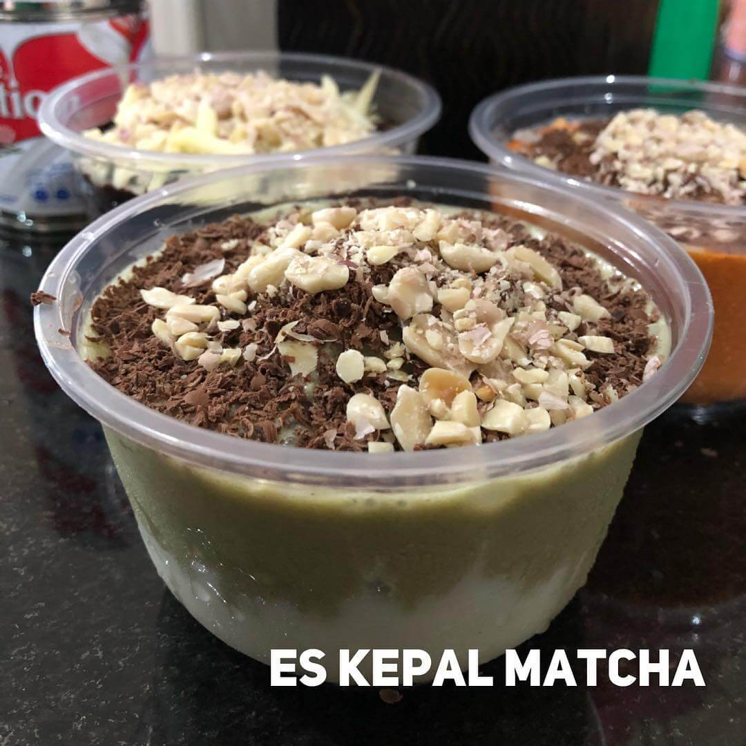 resep es kepal milo greentea matcha